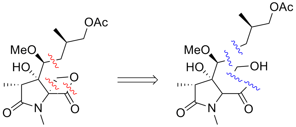 Target molecule, right, broken up at points indicated in red to fragments, left, indicated in blue.