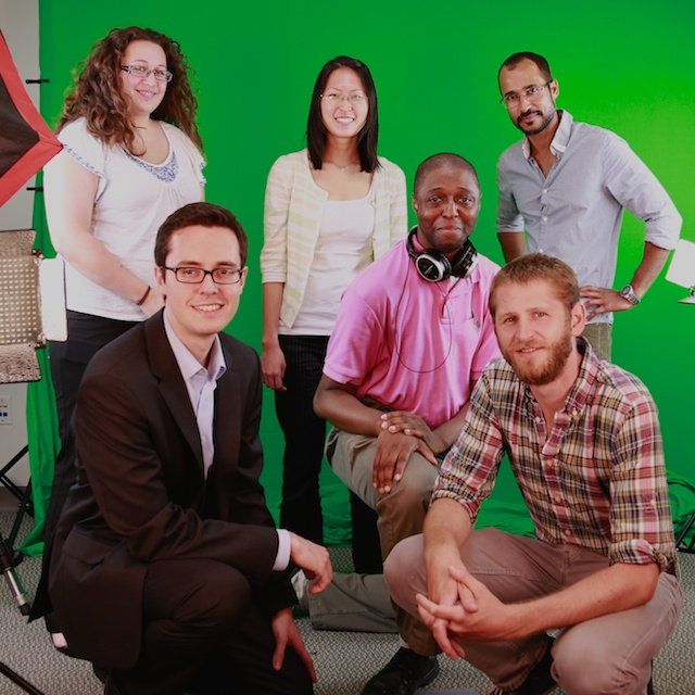 Bytesize Science team in our studio. Clockwise from top left-hand corner: Elaine Seward,  me,  Sean Parsons,  Kirk Zamieroski, Janali Thompson, Adam Dylewski. Photo taken by Sean Parsons (10-second timer)
