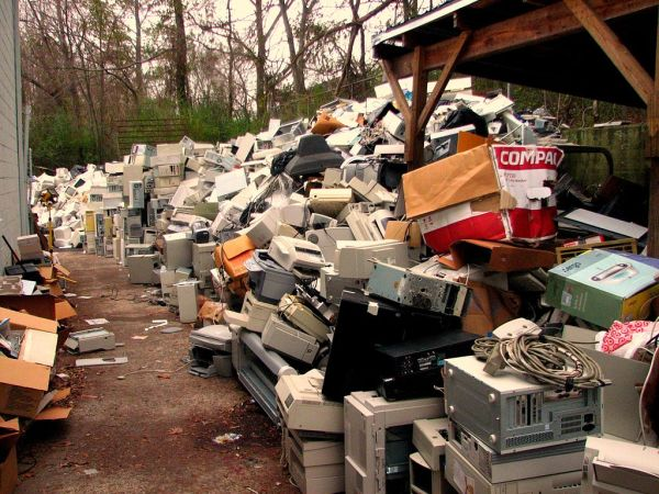 Electronic waste. Photo courtesy of Curtis Palmer on Wikimedia Commons
