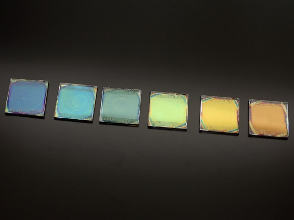 Colorful solar cells prepared by scientists at the Institute of Materials Science of Seville. Photo courtesy of Miguel Anaya.
