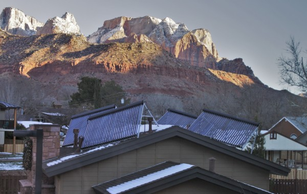 Solar thermal collectors on a hotel's roof near Zion National Park in Utah.