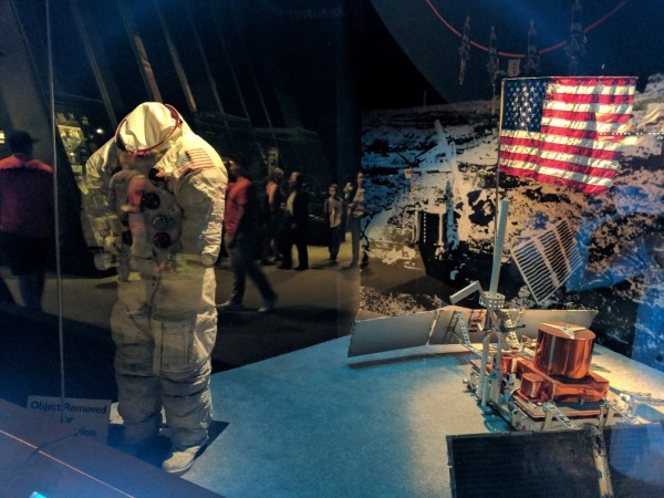 Buzz Aldrin's spacesuit has stood alone at the National Air and Space Museum for over 12 years, after its companion Neil Armstrong's suit was put in storage to prevent its plastic materials from deteriorating further.